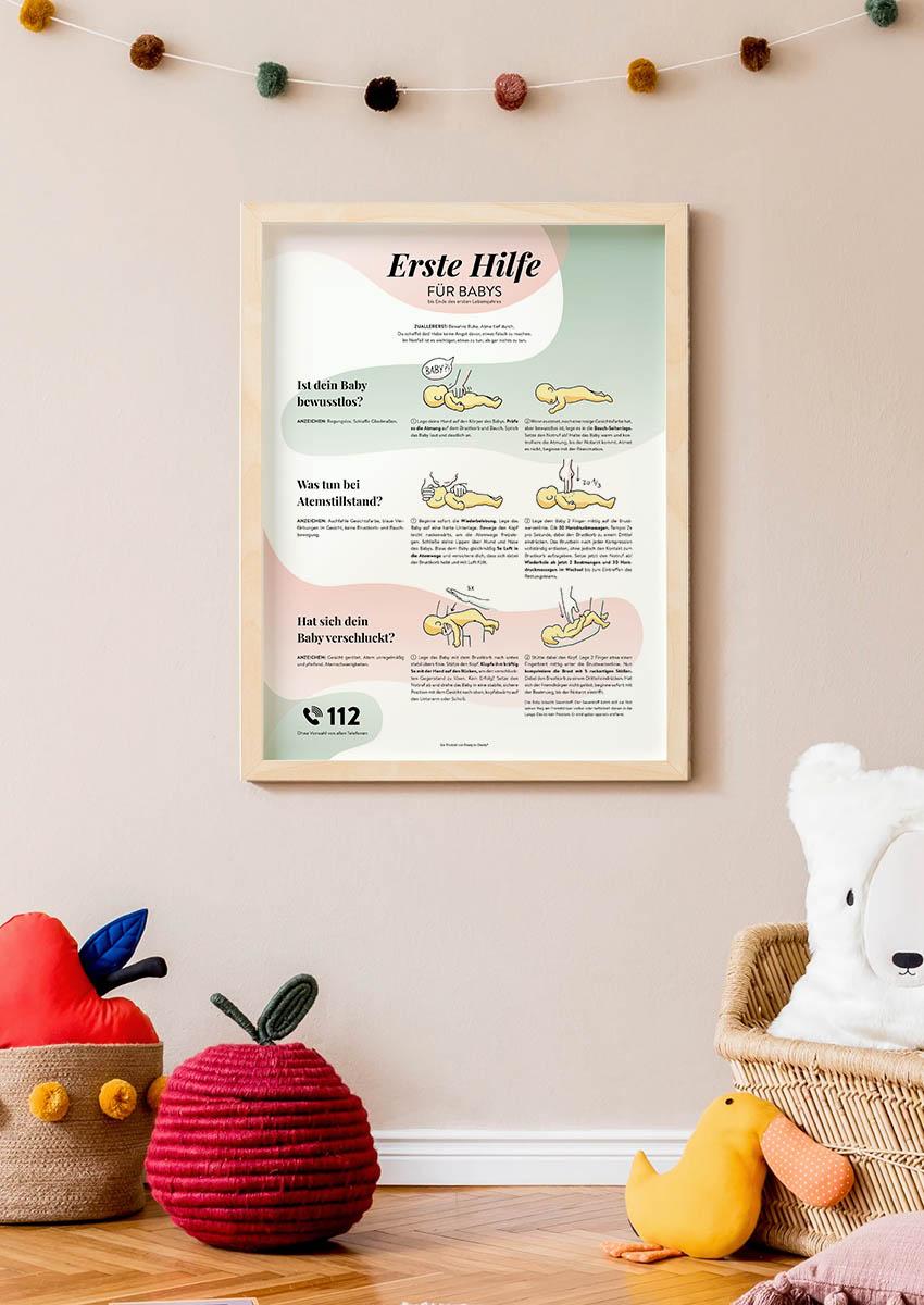 Erste Hilfe für Babys Poster Umfeld Hipster